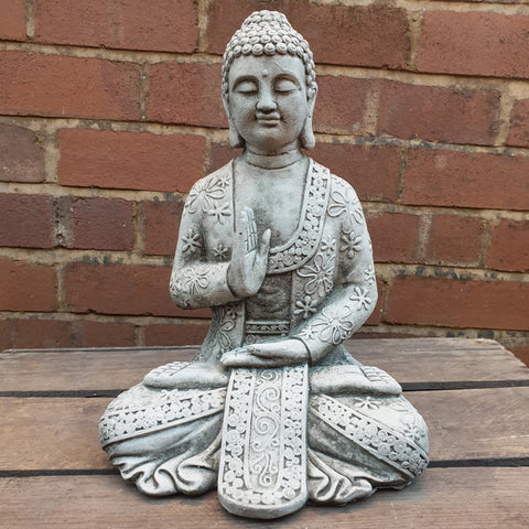 Sitting Cement / Concrete Meditating Buddha Statue - Totally Buddha