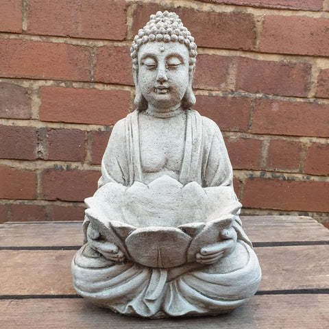 Cement / Concrete Tealight Buddha Statue - 304 - Totally Buddha
