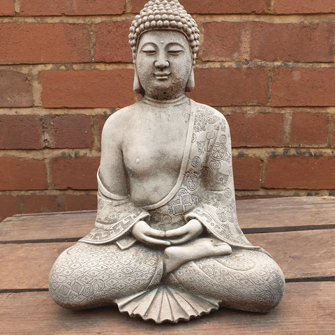 Meditating Cement / Concrete Robe Buddha Statue - Totally Buddha
