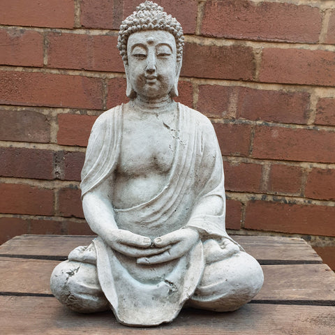 Ancient meditating Cement / Concrete Buddha Statue - Totally Buddha