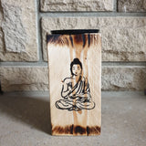 20cm Wooden Rustic Candle Holder - Sitting Buddha - Totally Buddha