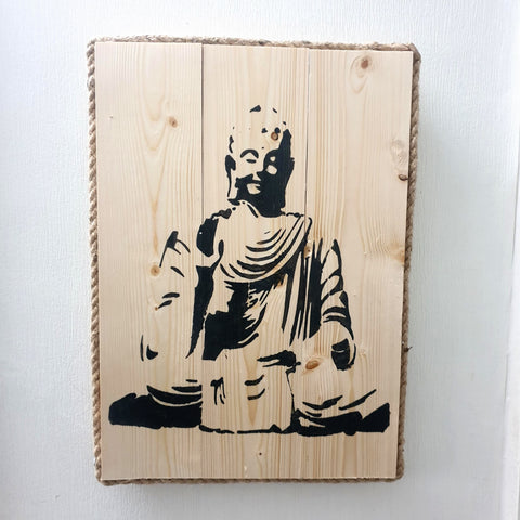 Sitting Meditating  Buddha Wall Art Pine Wood & Rope edging - Medium - Totally Buddha
