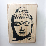Buddha Head Wall Art Pine Wood & Rope edging - Med - Totally Buddha