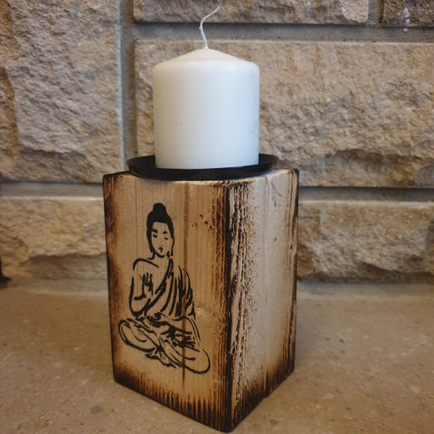 15cm Wooden Rustic Candle Holder - Sitting Buddha - Totally Buddha