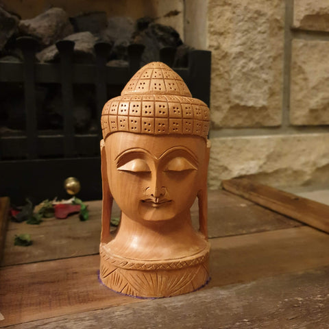 Wooden Buddha Head Ornament - Totally Buddha