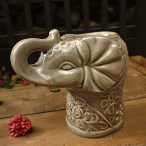 Elephant Oil Burner - Olive Brown - Totally Buddha