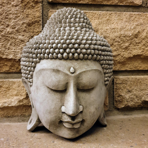Wall hanging Cement / Concrete Buddha Head Statue - Totally Buddha