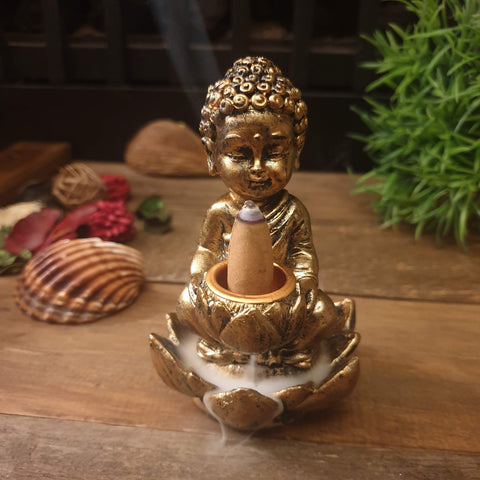 Baby Buddha with Lotus Backflow Incense Cone Burner - Rustic Gold - Totally Buddha