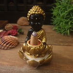 Baby Buddha with Lotus Backflow Incense Cone Burner - Black + Gold - Totally Buddha