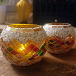 White/ Multicolour Mosaic Glass Tealight Votive Holder - Set of 2 - Totally Buddha