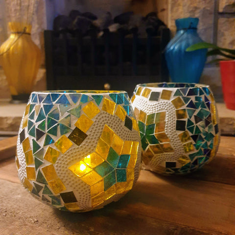 Yellow Blue Mosaic Glass Tealight Votive Holder - Set of 2 - Totally Buddha