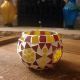 Red Yellow Mosaic Glass Tealight Votive Holder - Set of 2 - Totally Buddha