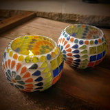 Multicoloured Mosaic Glass Tealight Votive Holder - Set of 2 - Totally Buddha