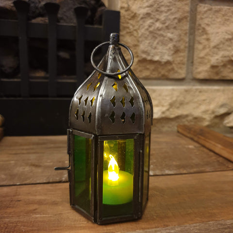 Small Hexagon Lantern - Green - Totally Buddha