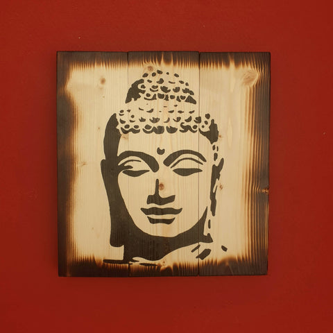 Burnt Effect Square Buddha Head Wall Art Pine Wood - Totally Buddha