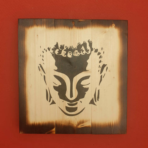 Square Burnt Effect Buddha Head Wall Art Pine Wood - Totally Buddha