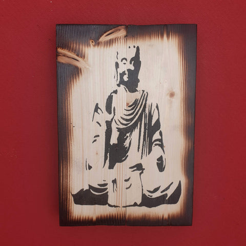 Burnt effect Sitting Meditating Buddha Wall Art Pine Wood - Totally Buddha
