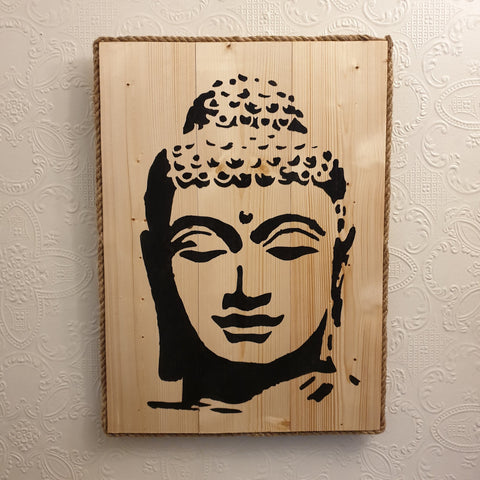 Large Buddha Head Wall Art Pine Wood & Rope edging - Totally Buddha