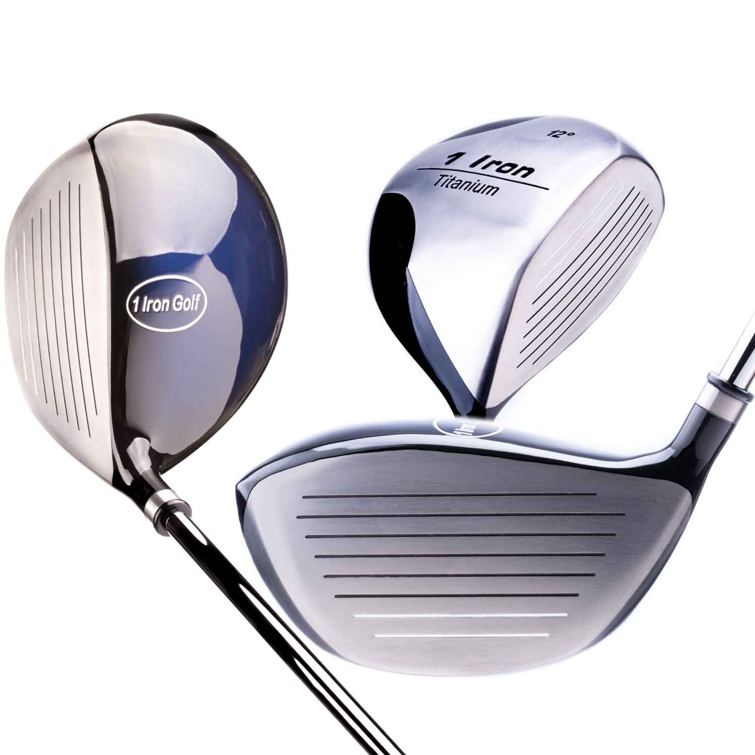 Top, Bottom, and Side View of One Iron Golf's 1 Iron Titanium Driver