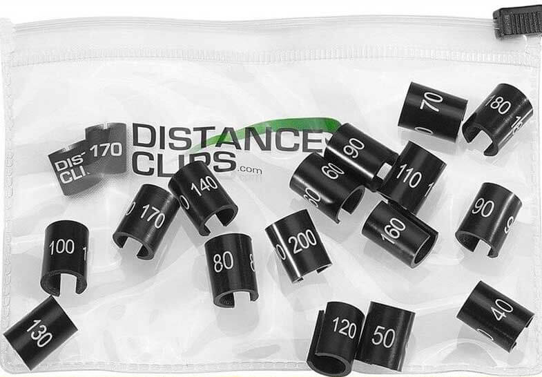 Distance clips for golf clubs in the product bag.