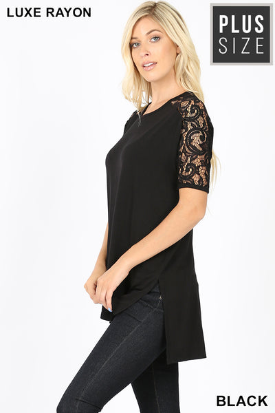 PLUS LUXE LACE TRIM SIDE SLIT TOP