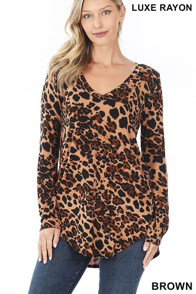 LUXE RAYON LEOPARD PRINT V-NECK