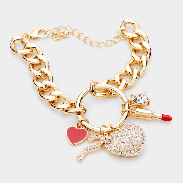 The love of makeup charm bracelet