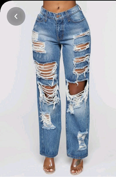 Straight High Waist Blue Ripped Jeans