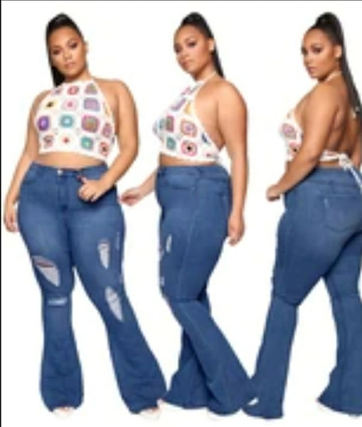 Plus Size High Waist Dark Blue Ripped Flare Jeans