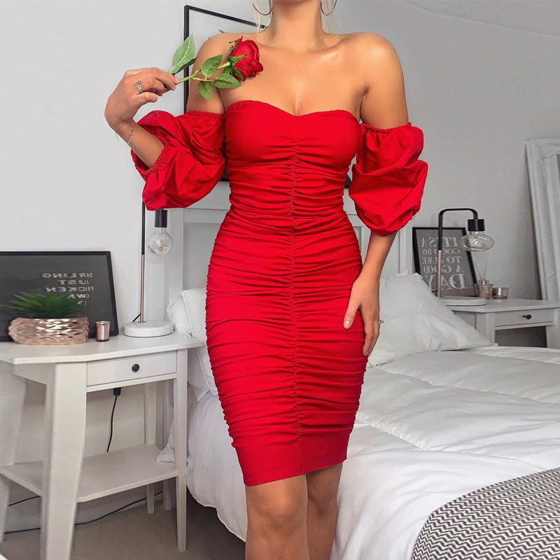 Red pleated sexy party dress
