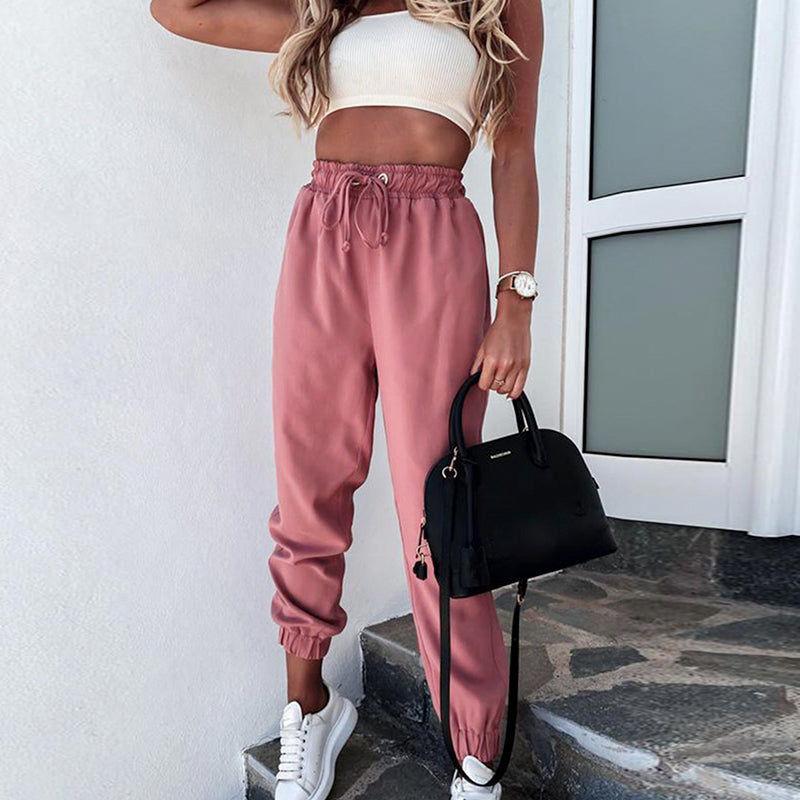 Solid lace up women's Harlem pants