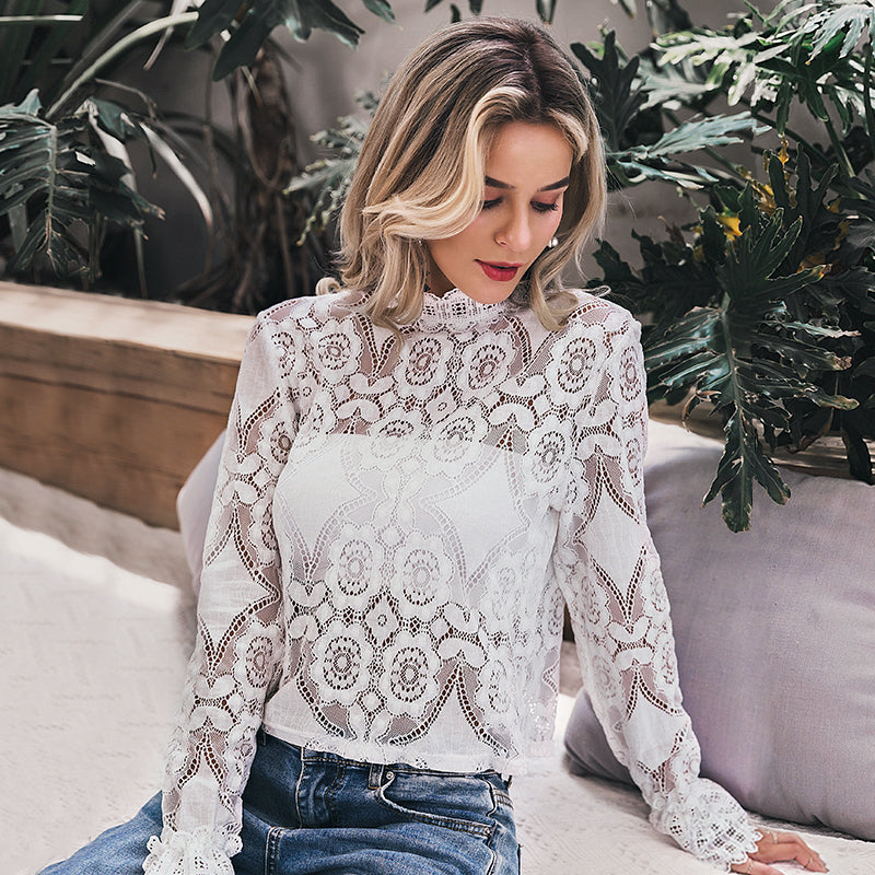 Statement white lace top
