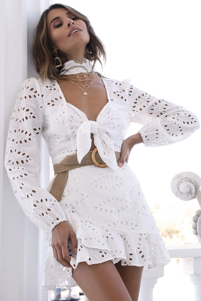 White Hollow Out Dress