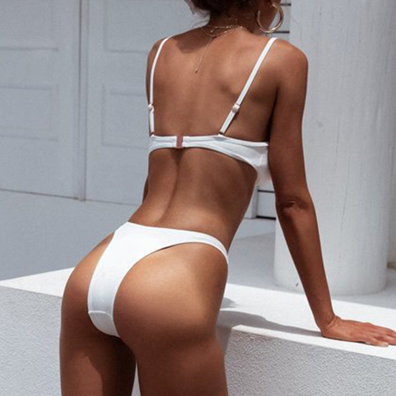 Ribbed sexy swimsuit white