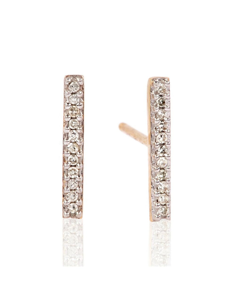 Pave Rose Gold Diamond Bar Earring