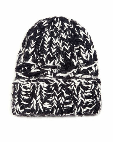 Marley Black Cream Beanie