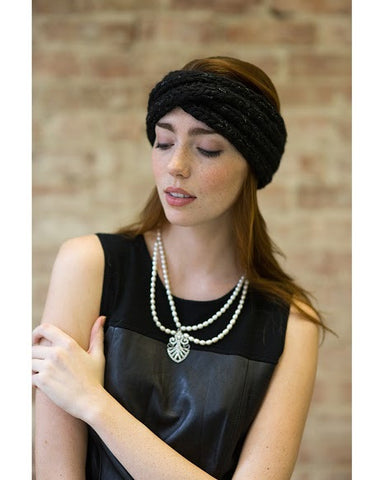 Lula Black Metallic Turban