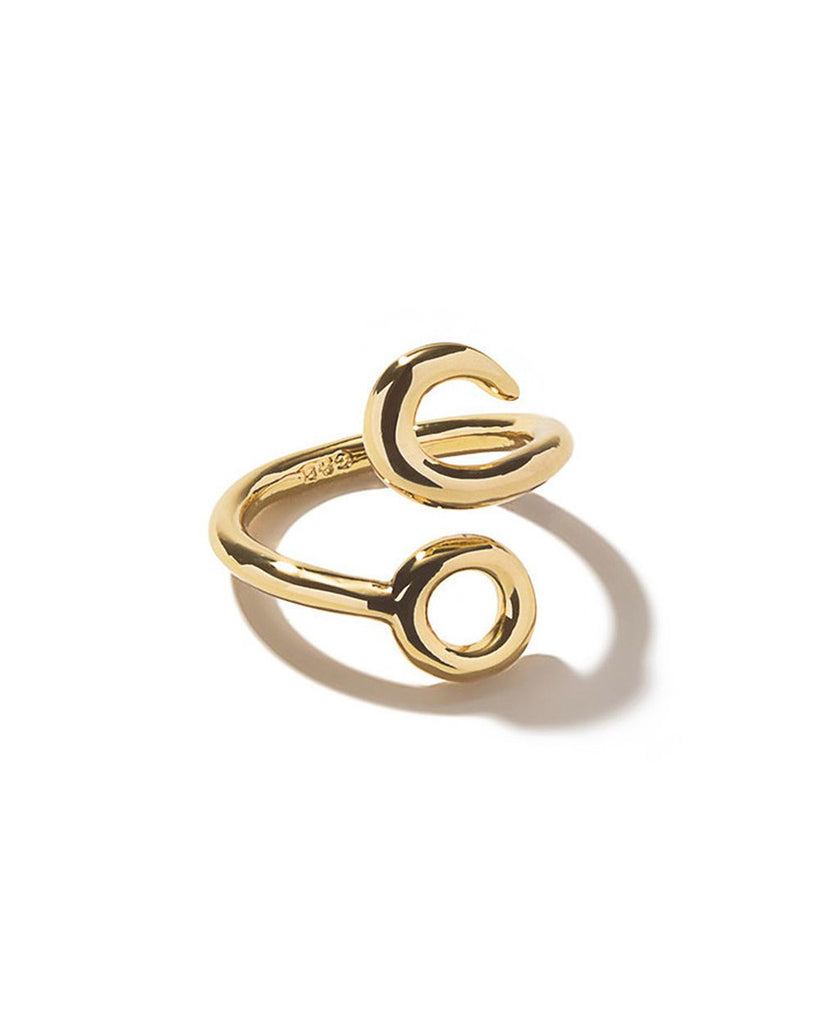 Hook Crossover Ring Gold
