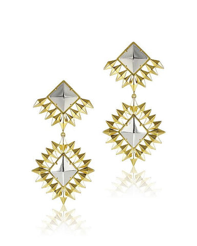 Double Diamond Statement Earrings Gold