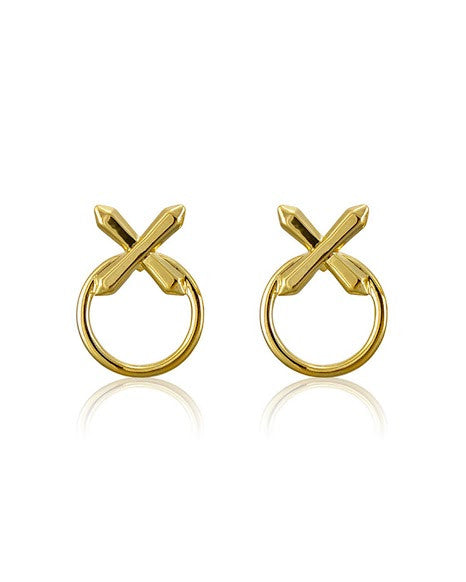 Crystal Cross Statement Earrings Gold