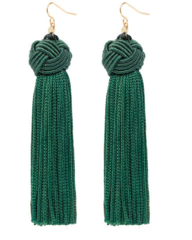 Astrid Knotted Tassel Earrings Green