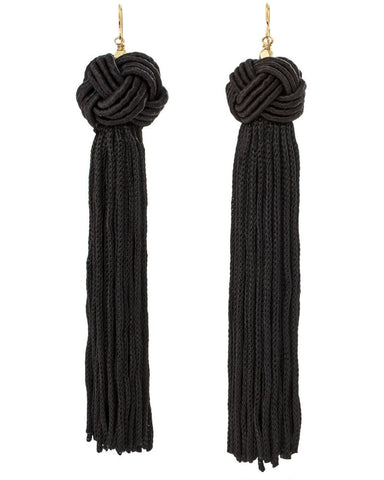 Astrid Knotted Tassel Earrings Black