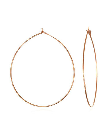 Rose Gold Hammered Hoops