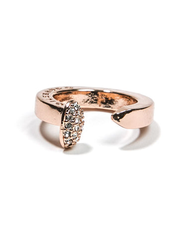 Rose Gold Railroad Spike Ring Pave