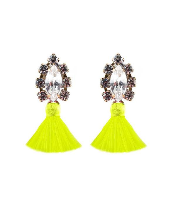 Frieda and Nellie<br>All the Tassel Earring Neon Yellow
