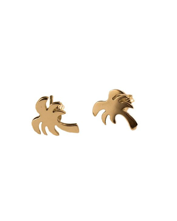 Yellow Gold Palm Tree Studs