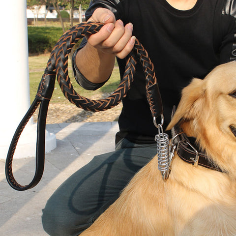 Genuine Leather Braided Dog Training Leash