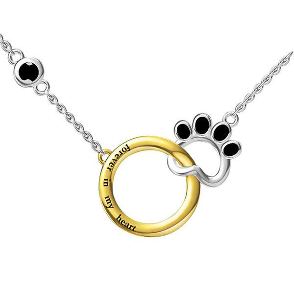Sterling Silver Black enamel Dog footprints double Pendant