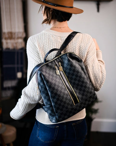 Aubry Checkered Backpack Set