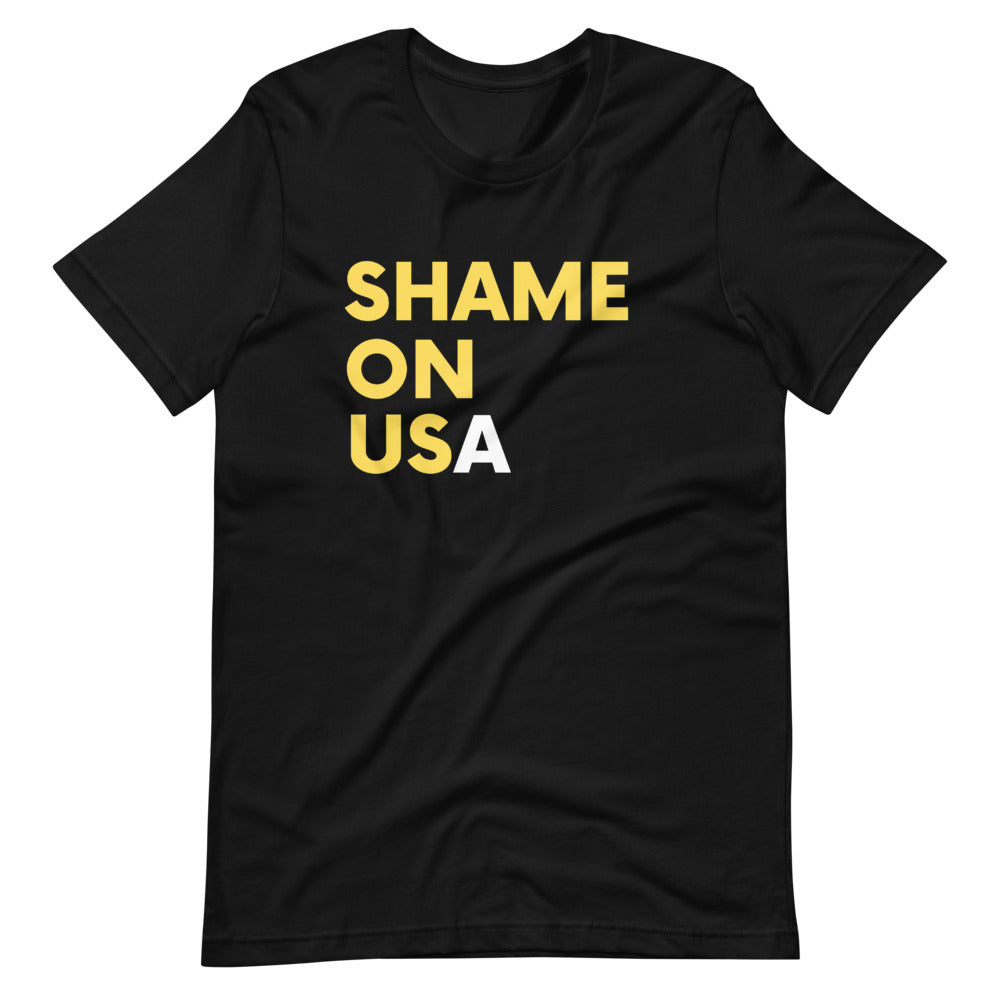 SHAME ON US(A) FRONT & BACK Short-Sleeve Unisex T-Shirt